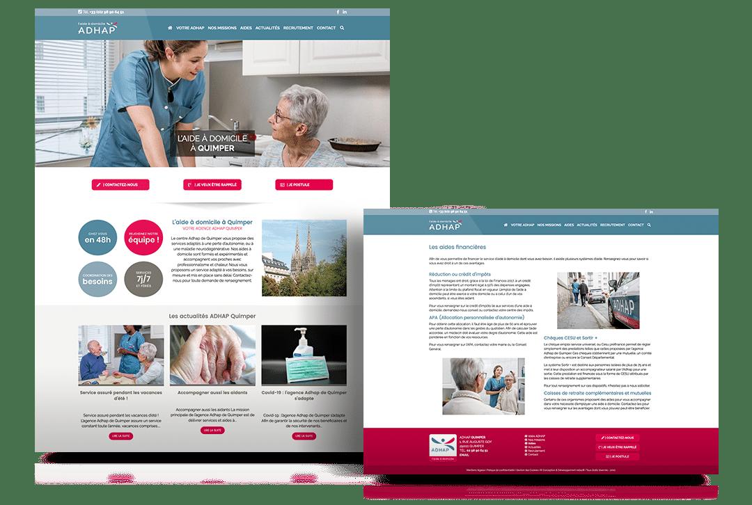 Création du site internet de l'ADHAP, entreprise d'aide à domicile
