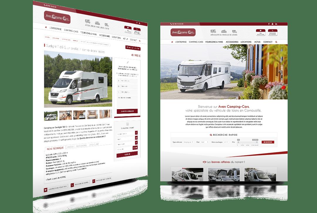 Création du site internet d'Aven Camping-Cars, revendeur de camping car dans le Finistère