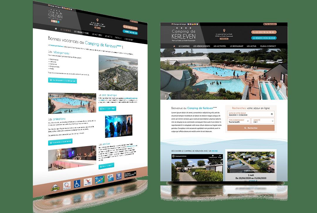 Création du site internet du Camping de Kerleven, camping quatre étoiles à la Fôret Fouesnant