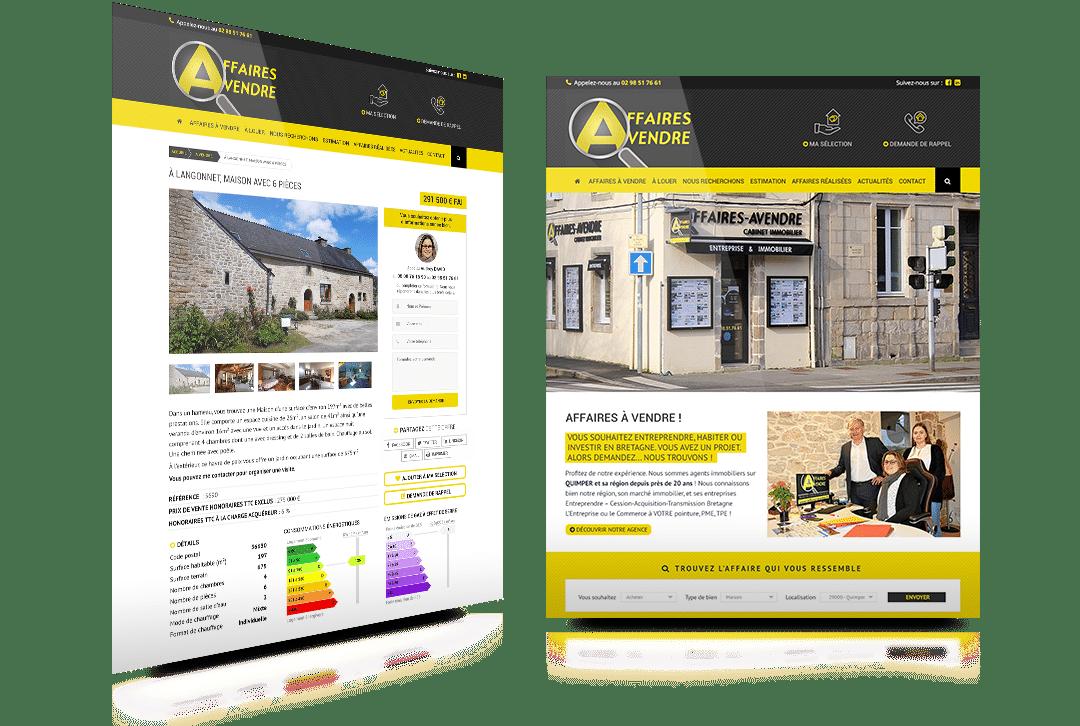 Création du site internet d'Affaires-AVendre, agence immobilière à Quimper