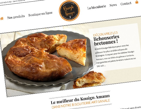 Site internet de Breizh Kouign, biscuiterie artisanale bretonne