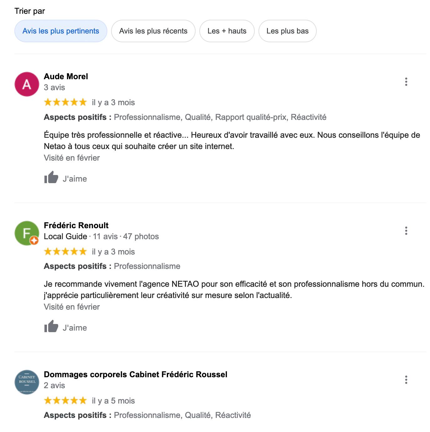 avis client google netao