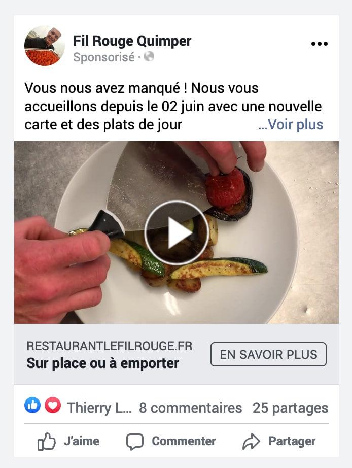 Exemple de campagne Facebook Ads