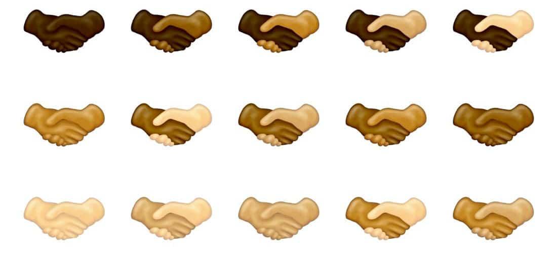 Nouveaux emojis poignées de main avec différentes couleurs de peau